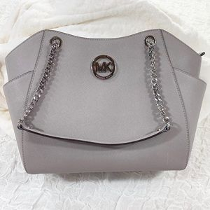 Gray Michael Kors Jet Set Large Silver Chain Tote